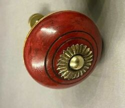 Rare 12-pc Set Vintage Wood And Brass Art Deco Drawer Pulls / Cabinet Knobs