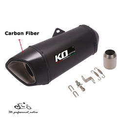 51mm Motorcycle Atv Exhaust Tips Black Muffler Tail Pipe Carbon Fiber End 410mm