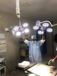 Ceiling Twin Examination Light Surgical Ot Room Light Operating Led 48+48 Led's