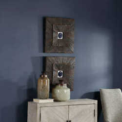 Two Anika 20 Natural Cobalt Agate Farmhouse Wood Panel Wall Art Uttermost 04190