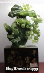 15 China Natural Green Jade Carved Magpie Bird Plum Flower Tree Trunk Statue