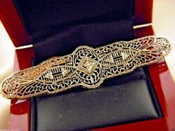 Antique Art Deco Natural Diamond Pin Brooch 10k Solid White Gold