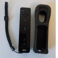 Nintendo Wii Wireless Remote Controller Black With Gely Case