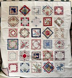 Newly Hand Made Vintage Handkerchief Full / Queen 91x100 Large Red Blue Quilt