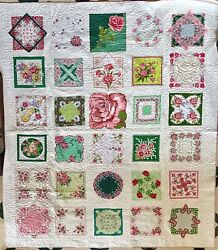 Newly Hand Made Vintage Handkerchief Queen King Large Quilt Pink Green 99x105