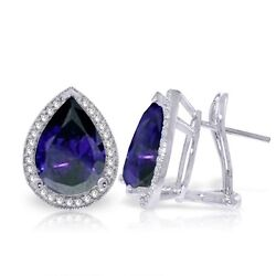 Genuine Pear Shape Sapphires And Diamonds French Clip Stud Earrings 14k Solid Gold