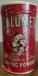 Antique Red Metal Tin Litho Calumet Baking Powder Can 4 Native American Feather