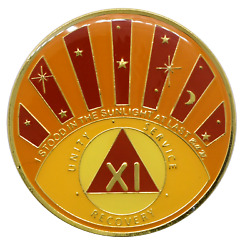 11 Year Aa Coin New Design Sunlight Chip Alcoholics Anonymous Sobriety Medallion