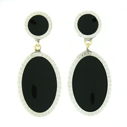 Antique 14k Gold And Platinum Round And Oval Black Onyx Wheat Work Dangle Earrings