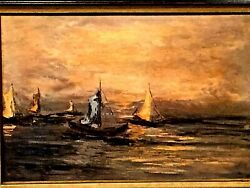 Vintage Oil On Canvas Seascape W/ Bots Painting Unsigned W/beautiful Wood Frame