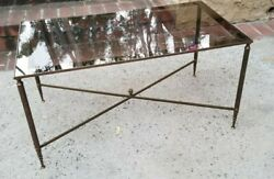 Vintage 1940and039s Maison Jansen Style Brass Petite French Coffee Table
