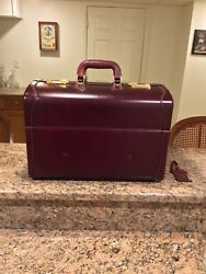 """Asprey Vintage Leather Train Travel Suitcase 18"""" Made In Italy"""