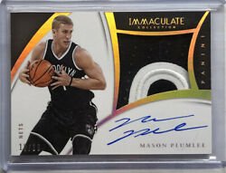 2014-15 Immaculate Premium Patch Auto Gold Mason Plumlee /10 Brooklyn Nets
