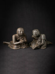 Pair Of Antique Bronze Burmese Monk Statues From Burma, Late 19th Century