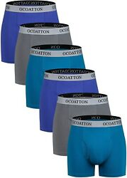 Ocoatton Menand039s Boxer Briefs Big And Tall Combed Cotton Underwear Open Fly 6-pack