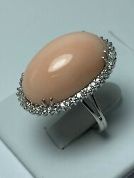Vintage 18 K White Gold Angel Skin Coral And Diamonds Ring Made In Italy