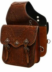 Tooled Leather Saddle Bag With Antique Copper Hardware