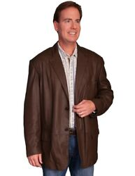Scully Western Sport Coat Mens Leather Blazer Button Olive F0_701
