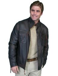 Scully Western Jacket Mens Lamb Leather Zip Lined 2x Oxblood F0_118