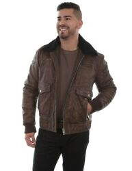 Scully Western Jacket Mens Eagle Bomber Leather Zip Brown F0_1004