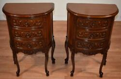 1930s Pair Of French Carved Walnut Nightstands / Bedside Tables