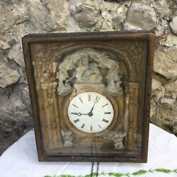 1800s Antique Wall Clock Wood Movement German Black Forest Picture Frame Box