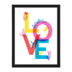 Colourful Love Letters Floral Bright Framed Wall Art Print 18x24 In