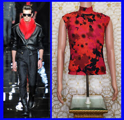 F/w 2012 Look 10 Versace Red Floral Military Sleeveless Knit T-shirt Size M