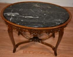 1920 Antique French Louis Xv Walnut And Marble Top Coffee Table / Side Table