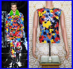 F/w 2012 Look 29 Versace Floral Military Sleeveless Knit T-shirt Size M