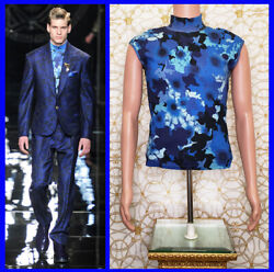 F/w 2012 Look 3 Versace Blue Floral Military Sleeveless Knit T-shirt Size M