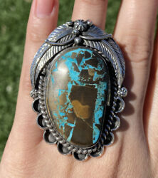 Native American Sterling Silver Blue Royston Turquoise Adjustable Ring. Cy