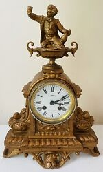 Antique French Japy Freres Metal Bell Chime Clock Man Raising A Toast Figurine