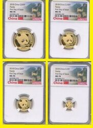 2018 China Pure Gold Panda 4 Coin Set Ngc Ms 70 First Day Issue Wall Label