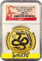 2013 Australia Lunar Year Of The Snake Ngc Ms 70 Er 1 Oz 9999 Gold Snake Label