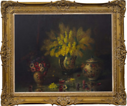 Vintage Original Rare Still Life With Vases Canvas Oil Painting Signed 80x100 Cm
