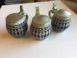 3 Vintage Gerz Gerzit Mini Steins Beer Stein With Pewter Lids - From Germany
