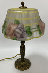 Antique Pairpoint Reverse Painted Puffy Floral Boudoir Lamp Brass Base Signed Al