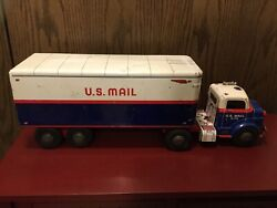 """Vintage Marx Lumar Us Mail Tractor Trailer Semi 1950's In Great Condition 25""""."""