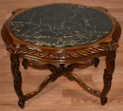 1920 Antique French Walnut And Marble Top Small Coffee Table / Side Table