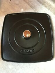 Staub Replacement Black Cast Iron Lid 10.5 X 10.5 12 Or Burger Grill Press