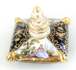 Antique German Hand Painted Porcelain Scent Sqaure Pillow Shape Perfume Bottle