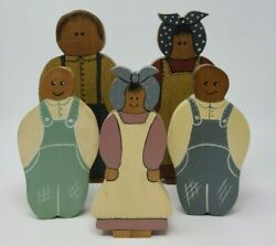 Country Family People Figures Handmade Wooden Painted Wall Hangers Or Free Stand