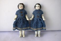 Antique China Head German Bisque Doll Porcelain Beaded Dress Hand Work Blue 2pf