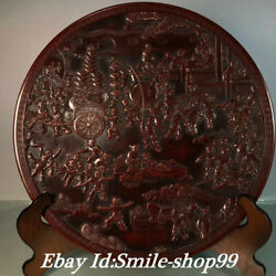 15andrdquo Old Purple Bronze Boy Child Play Game Martial Arts Pull Wealth Plate Screen