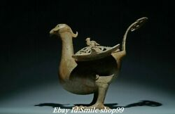 9 Old Zhan Dynasty Bronze Ware Palace Phoenix Hollow Out Incense Burner Censer