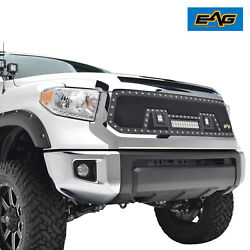 Eag Rivet Stainless Steel Mesh Grill W/led Light Fits 14-21 Toyota Tundra