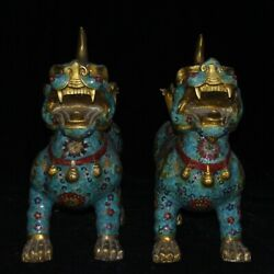 50 Cm Chinese Antique Brass Animal Statue Old Cloisonne Brave Troops Statue