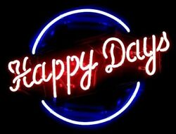 New Happy Days Neon Sign 20x16 Light Lamp Store Bar Decor Collection St075