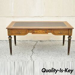 French Louis Xvi Style Leather Top Bureau Plat Large Floral Inlay Executive Desk